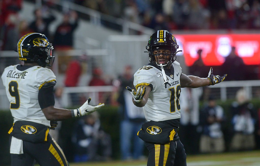 Missouri safeties Tyree Gillespie, left, and Joshua Bledsoe express their frustration