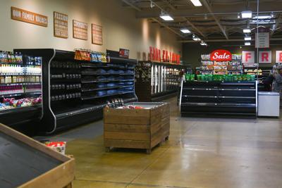 Shelves sit mostly empty