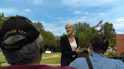 Jill Stein delivers a speech