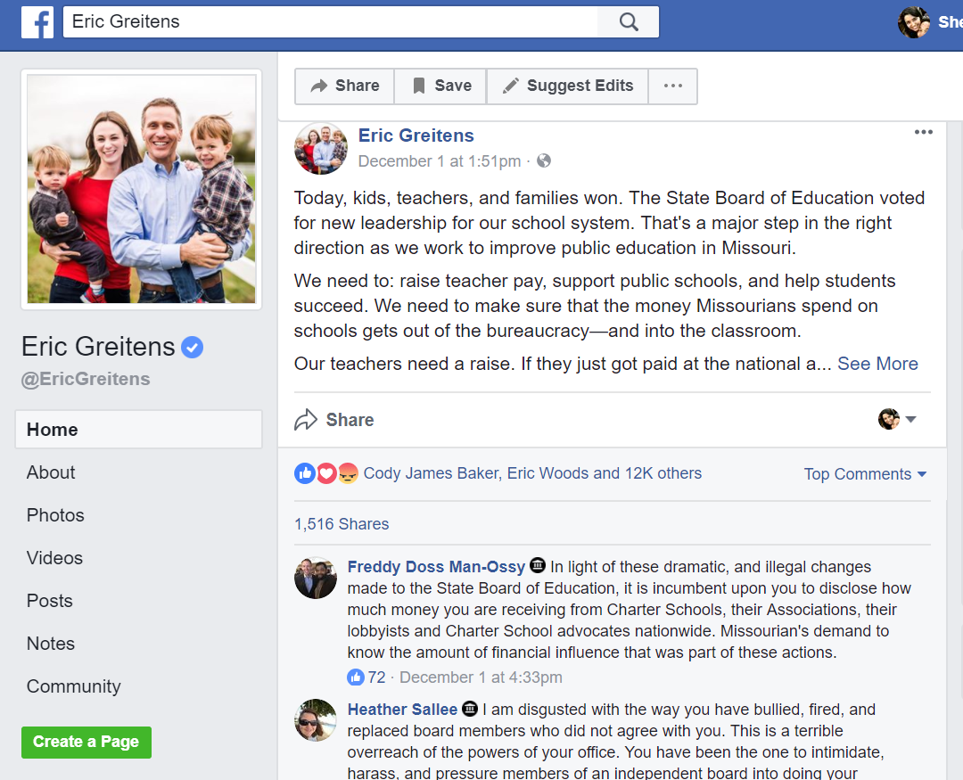 Screenshot of Greitens' Facebook page from a blocked account