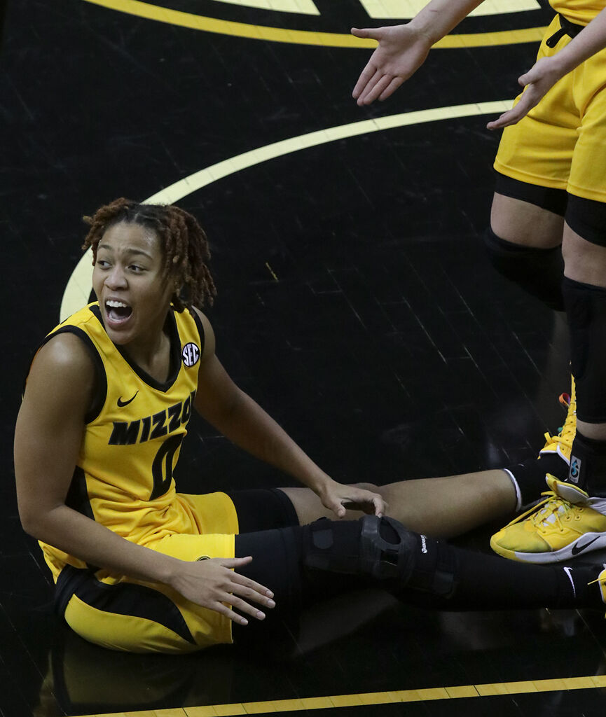 LaDazhia Williams reacts after being fouled on Monday at Mizzou Arena in Columbia. (copy)