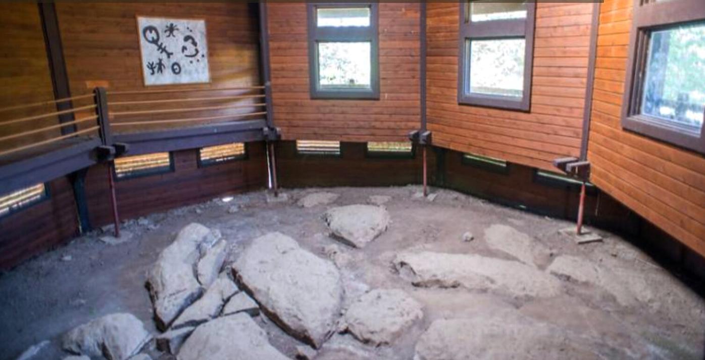 Petroglyphs, or prehistoric rock carvings lie