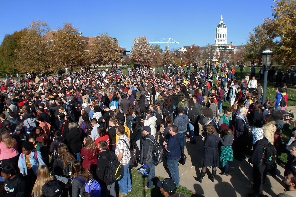 Students, faculty and supporters gather on Carnahan Quadrangle