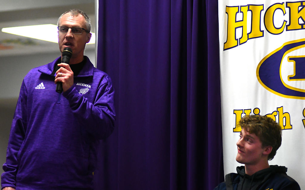 Hickman track and field Coach Stewart Johnson talks about George Monroe on signing day