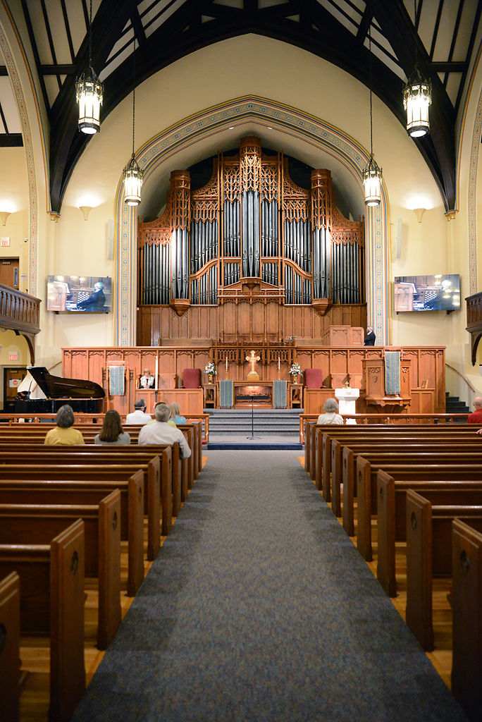 About 25 congregants attended the 8:30 a.m. service on Sunday