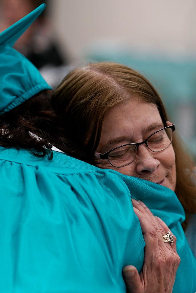 Mary Maserang hugs her mother Julie Anna Maserang