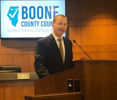 Mayor Brian Treece announces the Boone County Counts Partnership to citizens and