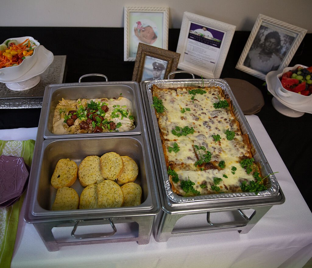 Food sits on a table at Tammie's Covenant Kitchen