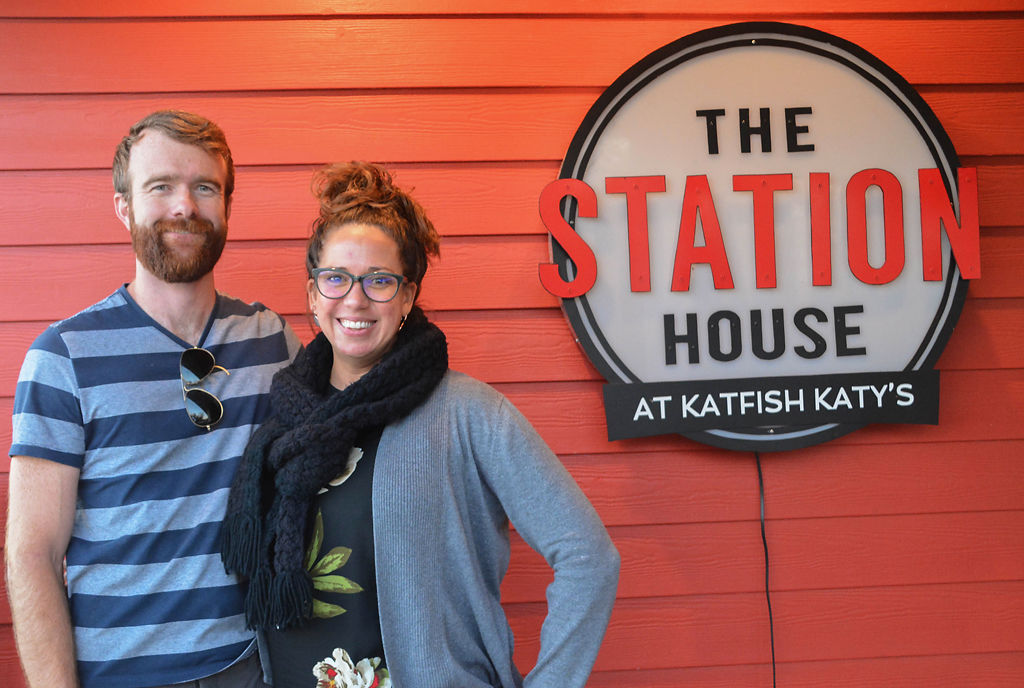 Owners Zac and Laura Cutler stand outside The Station House