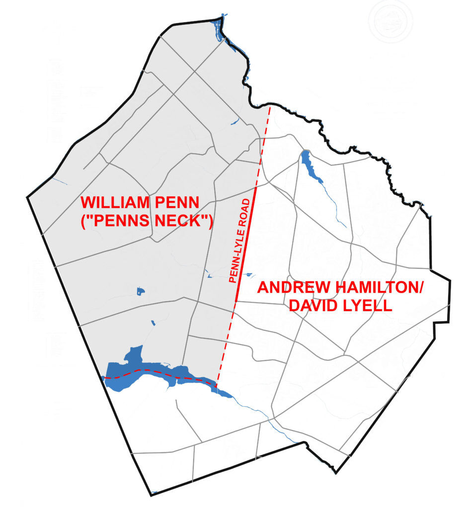 2-This map of West Windsor shows the main landholders in the 1690s. Note David Lyell and William Penn – after whom Penn-Lyle Road was named.