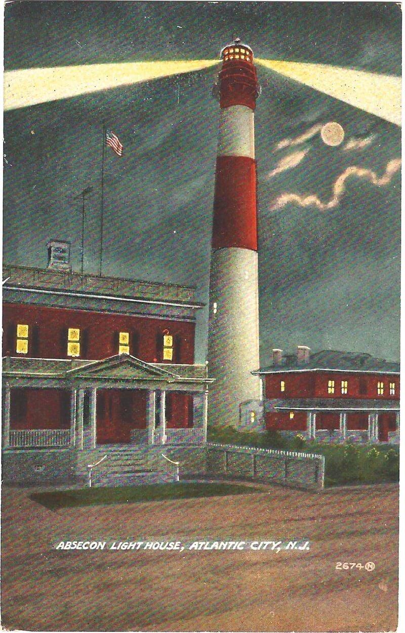 P lighthouse postcard