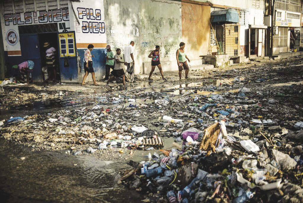 Haiti protests garbage streets