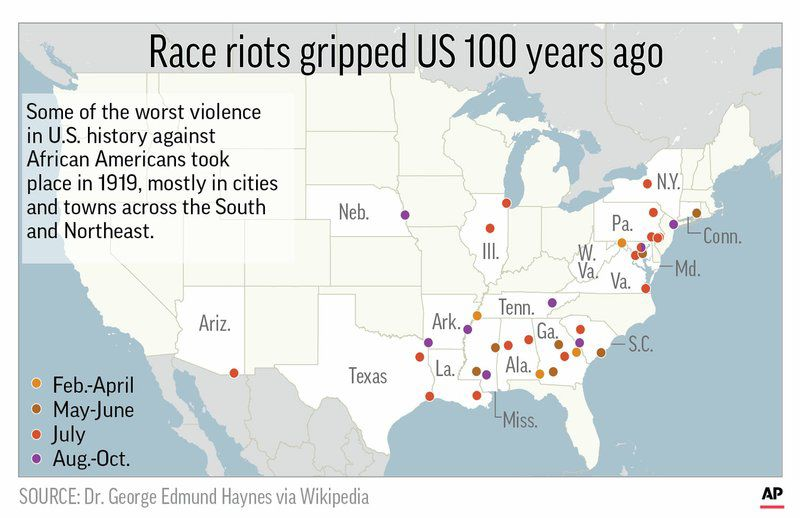 red summer map of race riots african american