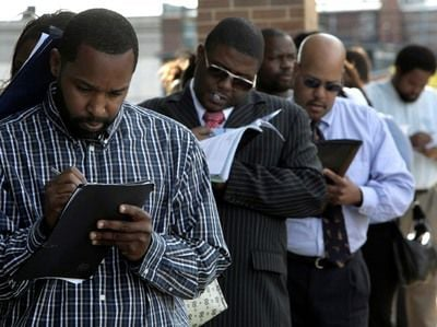 Black Unemployment job search people in line