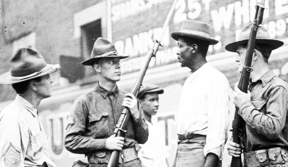 Red Summer soldiers confronting black man chicago