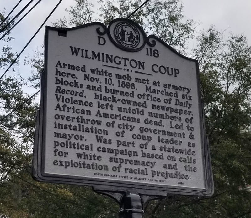 North Carolina historic marker closeup wilmington coup