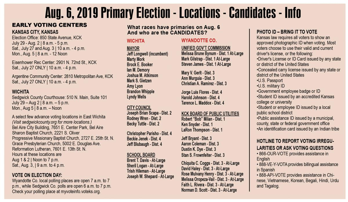 2019 Primary Election Info and candidate chart