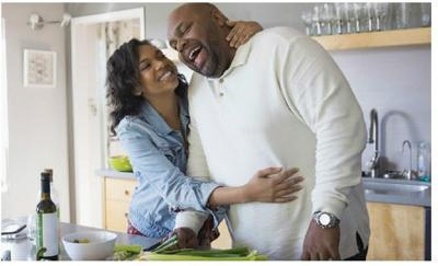 man and woman daughter father family kitchen health diabetes stock image