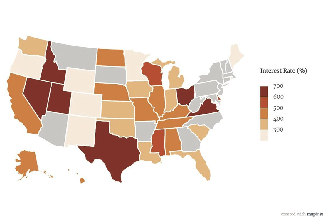 Payday loan map of america - rates by state