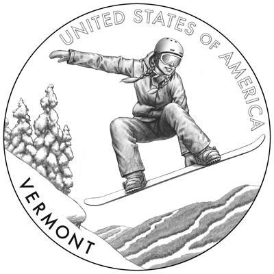 VERMONT SNOWBOARDER ONE DOLLAR COIN