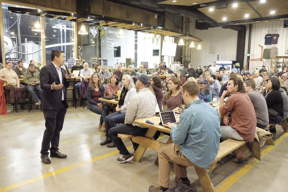 Andrew Yang speaks at Tuckerman Brewing