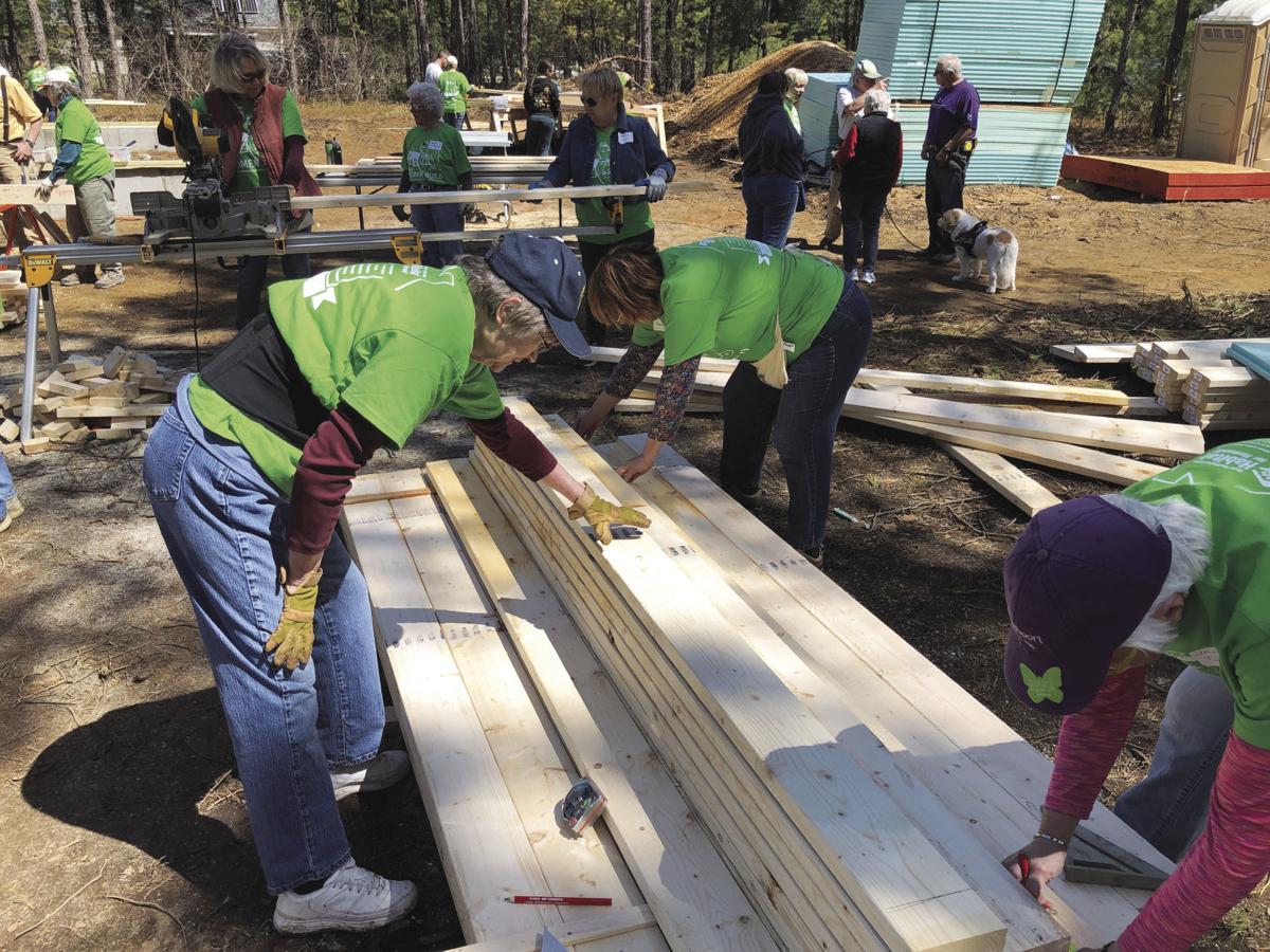 Karen Umberger helps to build a Habitat house Women Build Day