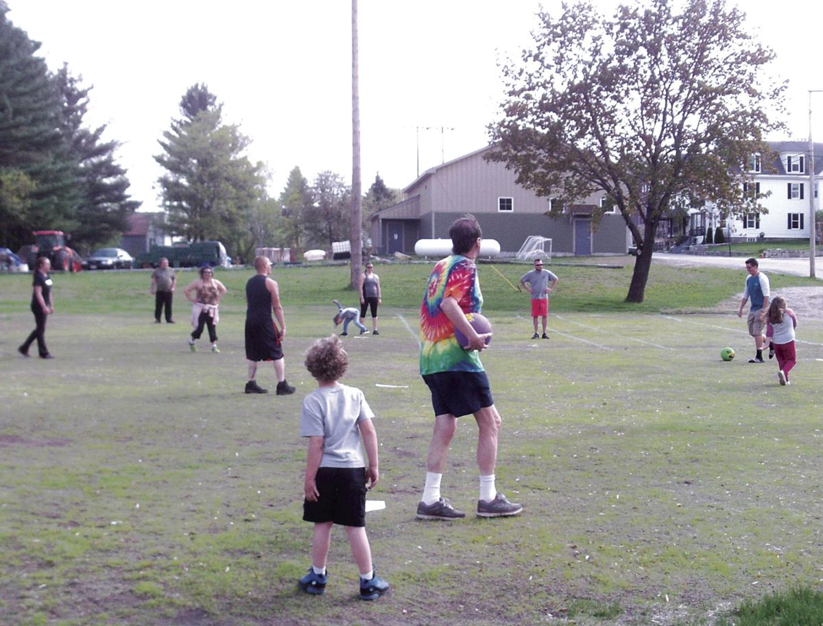 And the Game is On!  Berlin Rec. Kickball, 2018 Parents vs. Kids.JPG