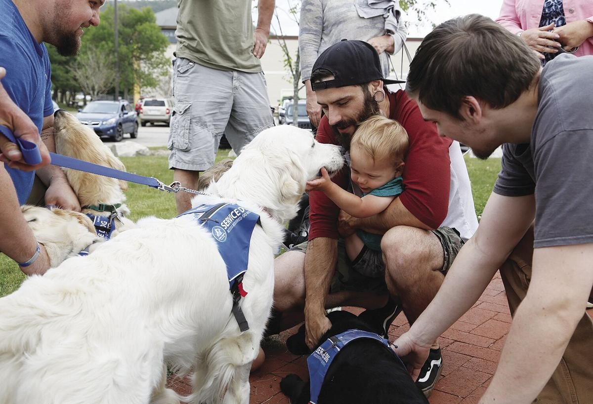 06-25-21 Pups and Pints kids petting dogs