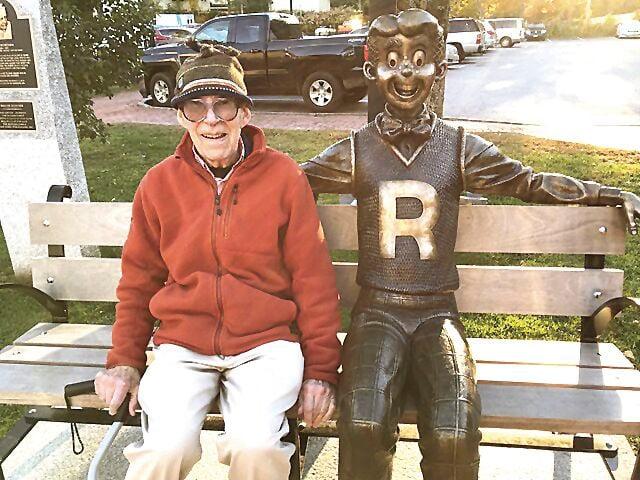 Gordon Mann with Archie statue