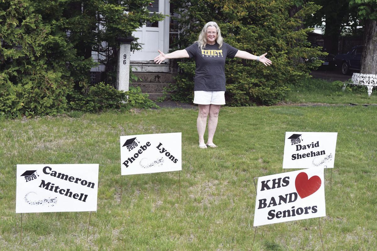 Therese Davison with signs