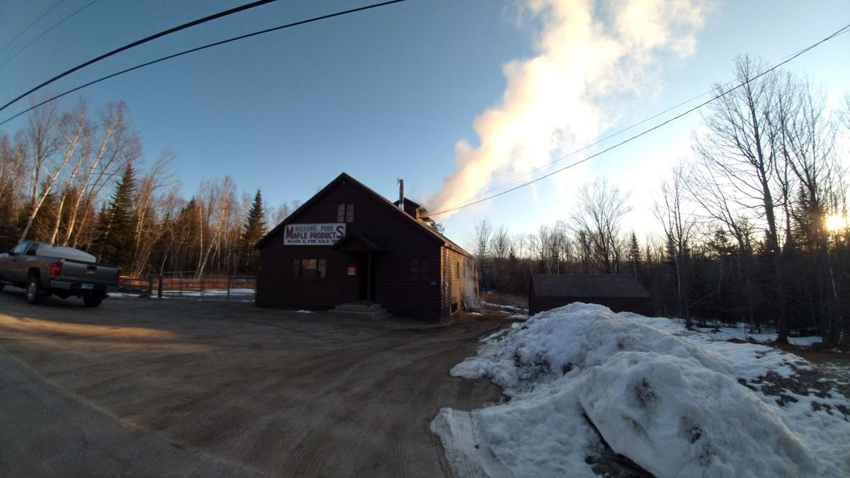 Bisson's Sugar House is boiling sap