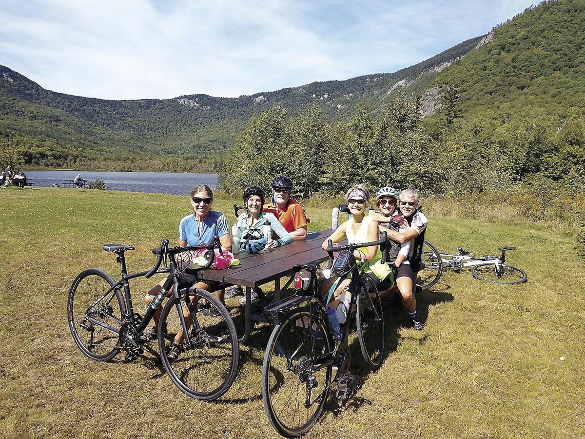 Wheel Family Fun - MWVBC at picnic area views of Basin Pond and Baldface