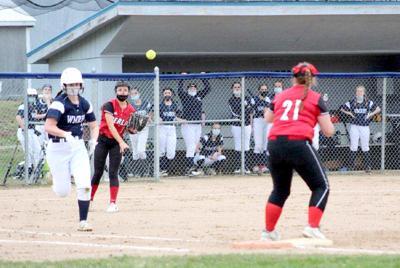 BHS softball = Makenna Peare throw to Kyra Woodward
