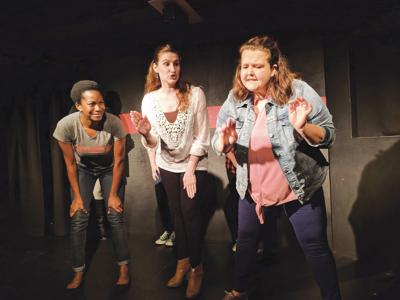Members of Broad Perspective perform at Backline Comedy Theatre in Omaha Thursday night. The women perform off-the-cuff improv every second Thursday of the month.