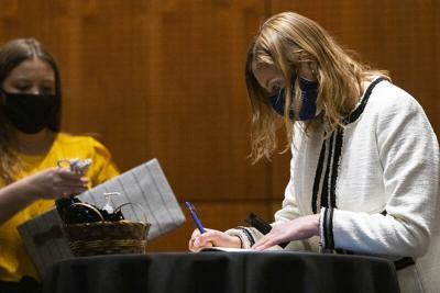 Student sign Phi Beta Kappa book