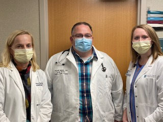 Masked health care workers