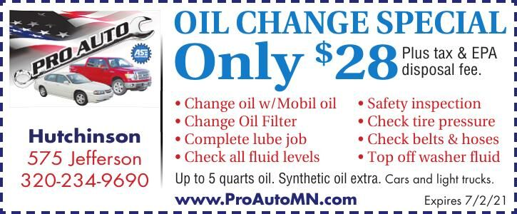OIL CHANGE SPECIAL Only $28 Hutchinson