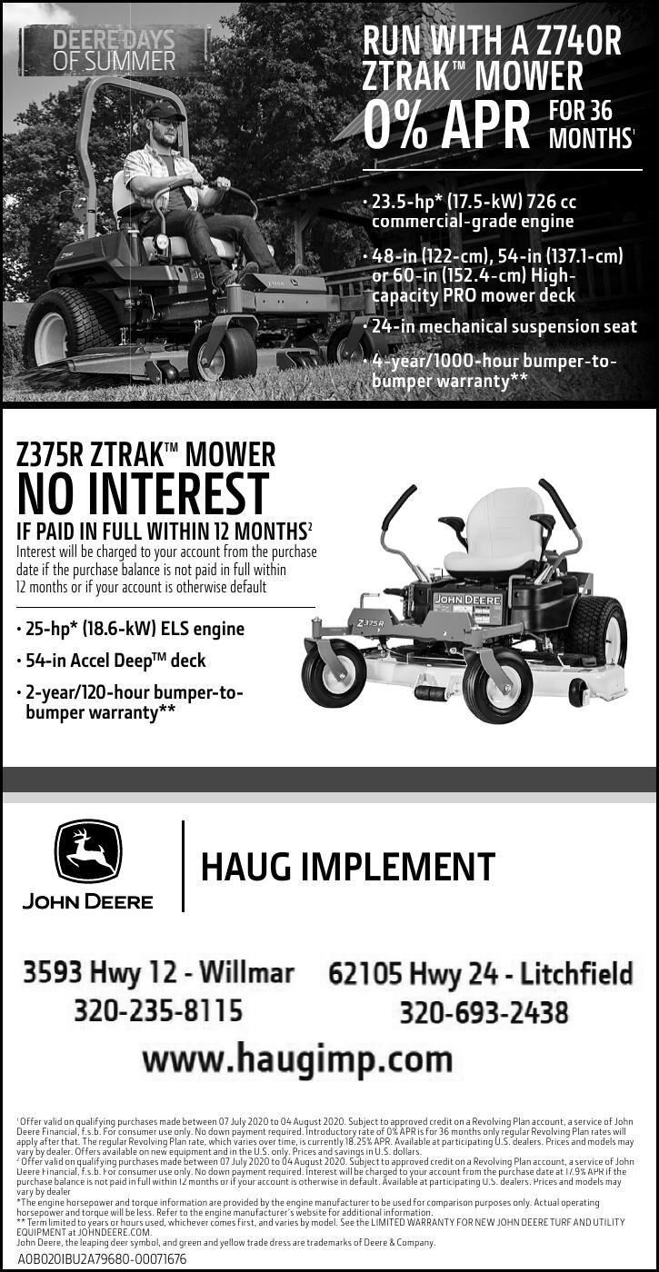 RUN WITH A Z740R ZTRAK™ MOWER 36 0%
