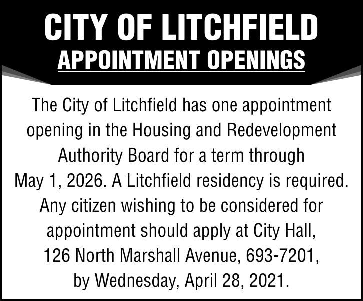 CITY OF LITCHFIELD APPOINTMENT OPENINGS