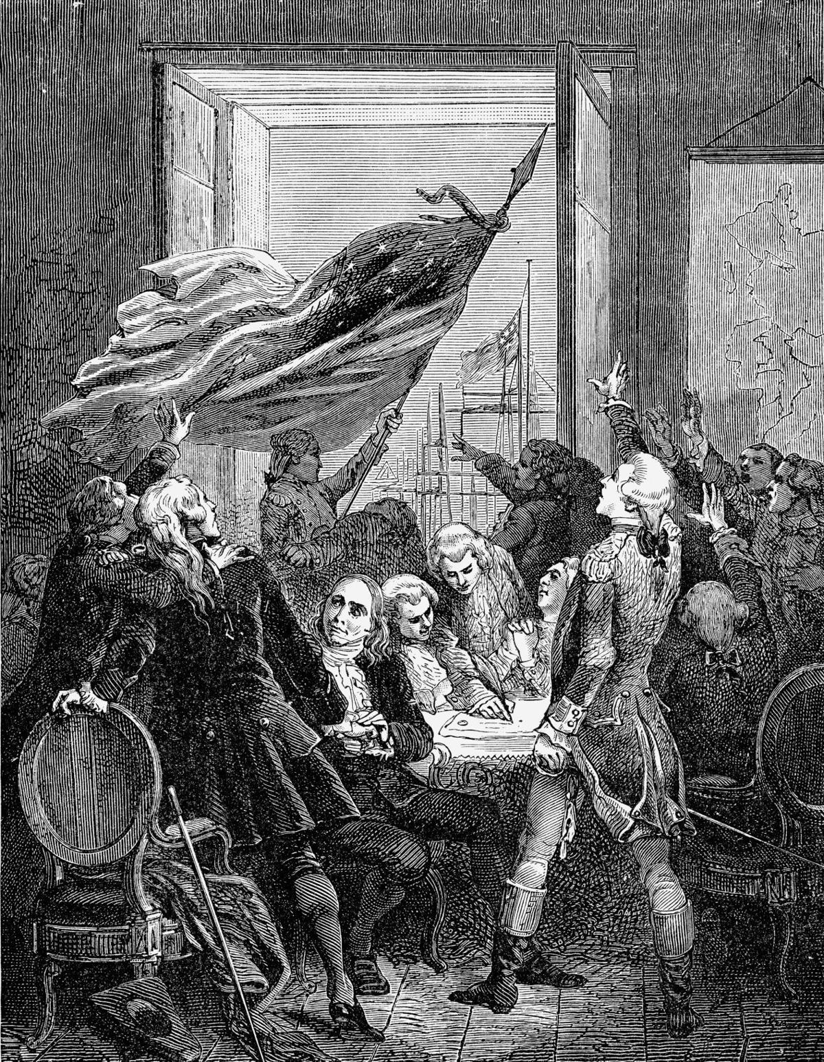 Engraving of the signing of the Declaration of Independence