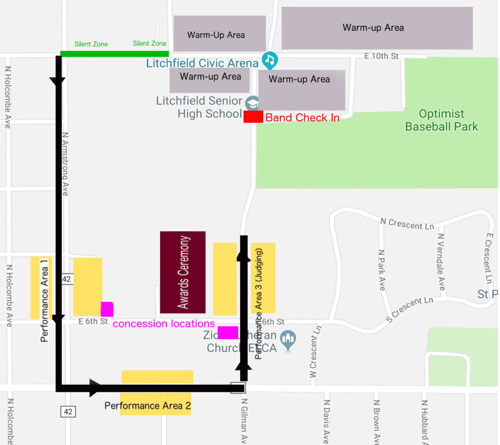 Parade of Bands route