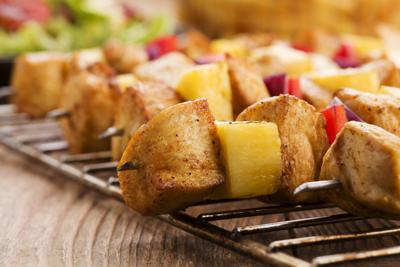 Grilled chicken skewers with pineapple