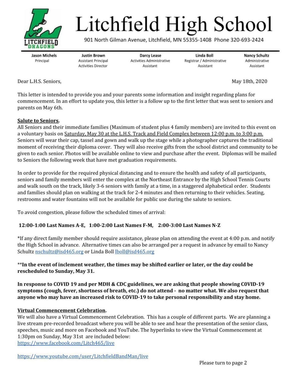 Letter to seniors