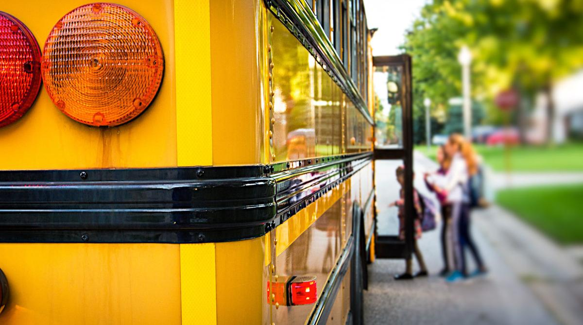 Boarding a school bus