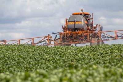 Spraying machine in soybeans