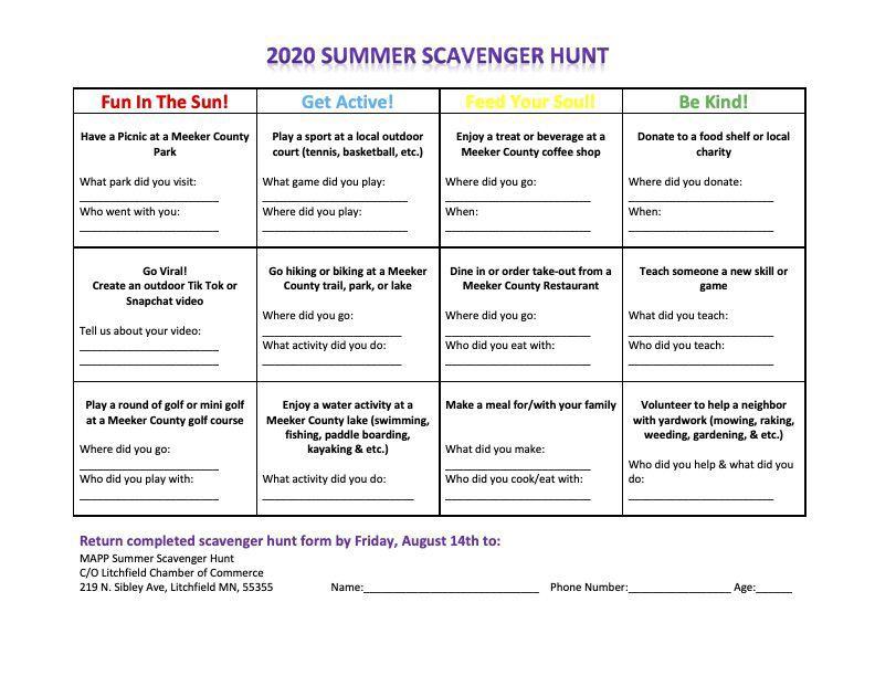 Scavenger hunt game board