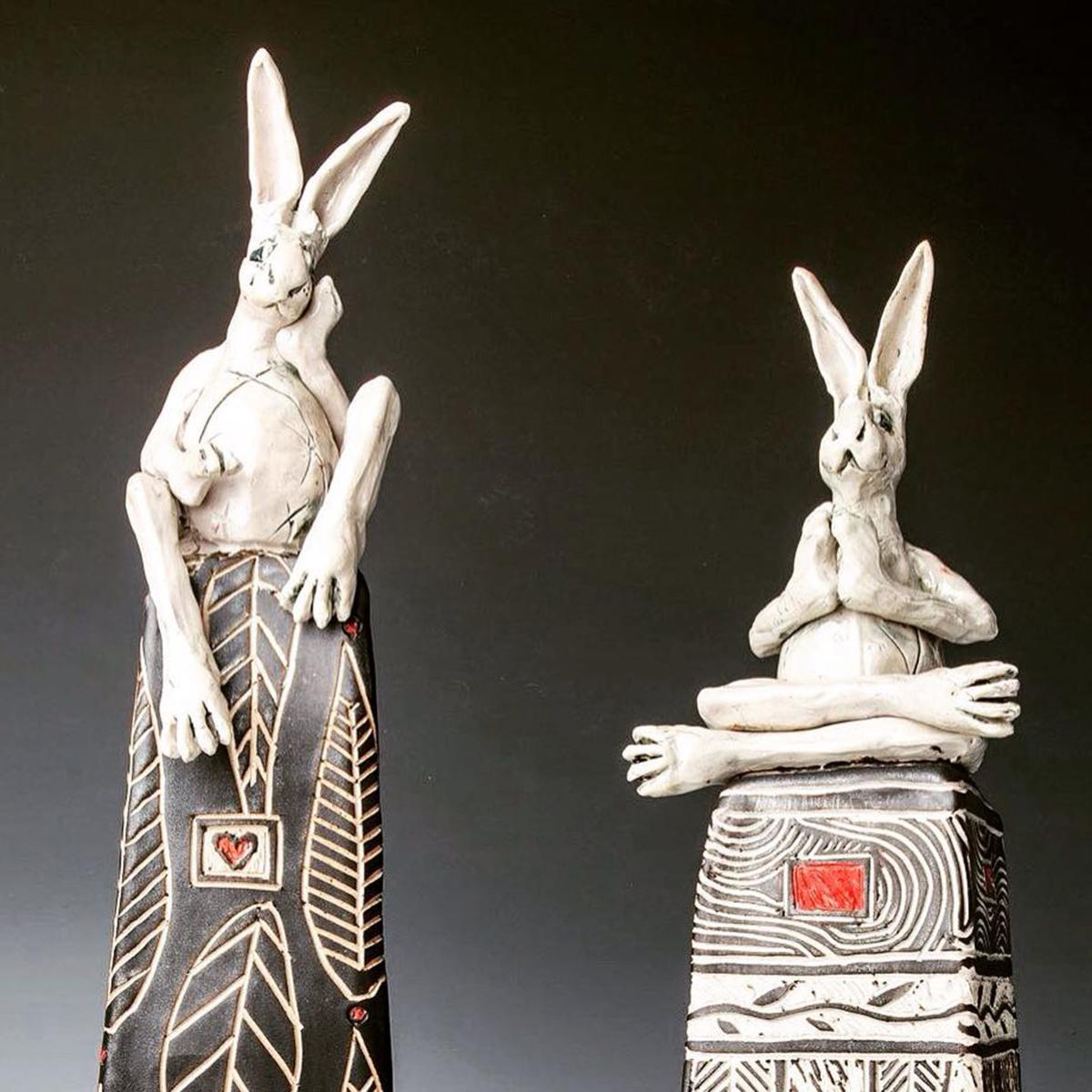 Whimsical sculpture of rabbits by Reiko Cunningham-Uchytil