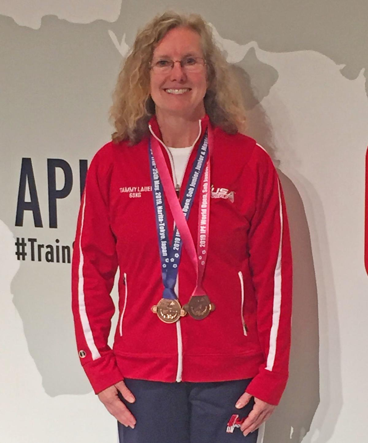 Tammy Lauer with her medals