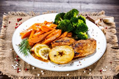 Grilled pork chop with sweet potato