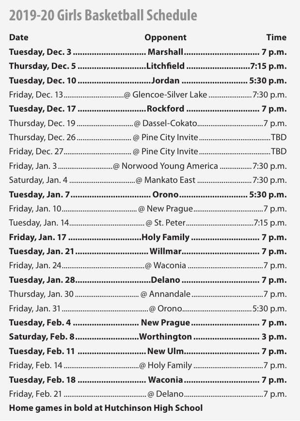 2019-20 Hutch Girls Basketball Schedule